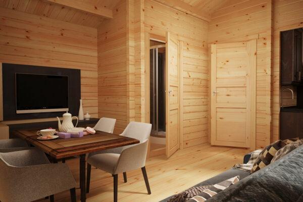 Blockhaus mit Badezimmer Schweden C 23m2 / 6 x 4 m / 70mm