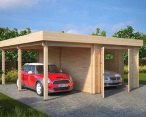 Kombi-Modell mit Carport und Garage Typ H / 44mm / 6 x 6 m