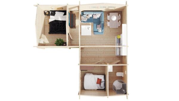 Ferienhaus-Holzhaus mit zwei Schlafzimmern