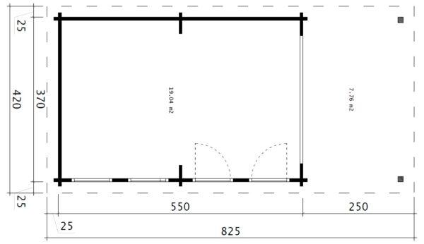 "Großes Gartenhaus mit Falttür ""David-1"" / 4x8 m / 19 m2 / 70 mm"
