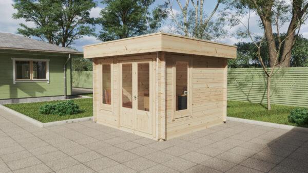 """Gartenhaus aus Holz """"Mini-Gartenbüro 2"""" / 3×3 m / 9 m2 / 44 mm"""