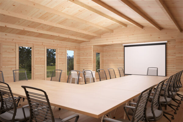 Klassenraum / Konferenzraum im Holzhaus / 14x7 m / 88 mm / 93 m2