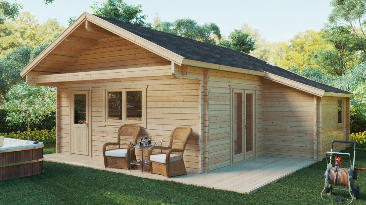 Holzhaus Dallas mit 2 Schlafzimmern und Schlafboden / 42 m2 / 7x7 m / 70 mm