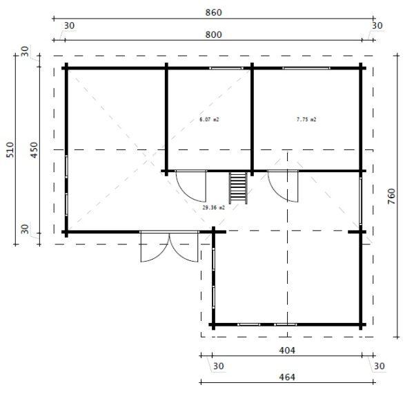 Blockhaus-Ferienhaus Hansa Holiday Q mit Schlafzimmer und Schlafboden / 55 m2 / 70 mm