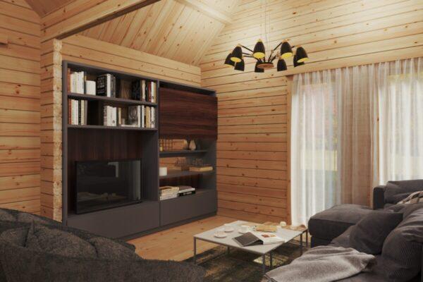 Holzhaus mit zwei Schlafzimmern und Schlafboden Holiday Max 2 / 85 m2 / 12 x 7,5 m / 92 mm