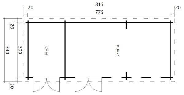 Gartenhaus mit Lagerraum Liam Plus (3x8 m / 44 mm / 22 m2)