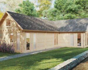 """Holzhaus mit zwei Schlafzimmern und Schlafboden """"Holiday Max 1"""" 85 m2 / 9x12 m / 92 mm"""