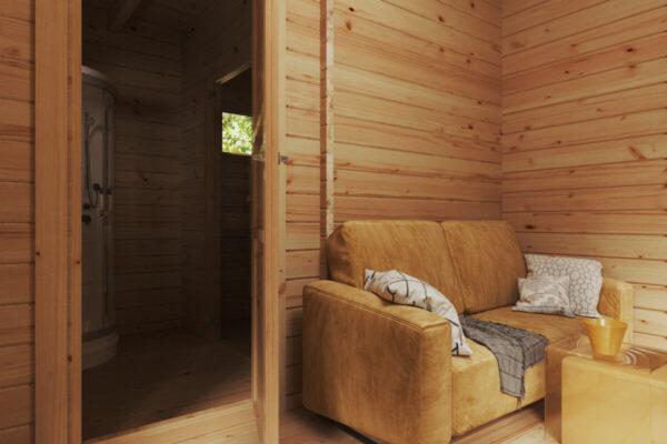 Garten-Saunahaus Mini Hansa Sauna Lounge 12m² / 44mm / 5x5m