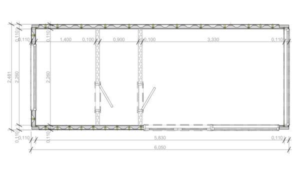 Schiffscontainer Saunakabine V6 Gebäudeplan
