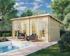 Gartenhaus mit Pultdach Liam DS 16m2 / 6 x 3 m / 44 mm