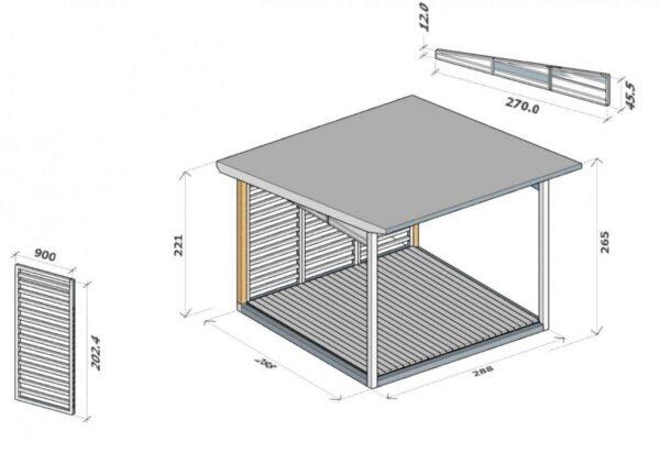 Holzgartenlaube-A-3x3-m